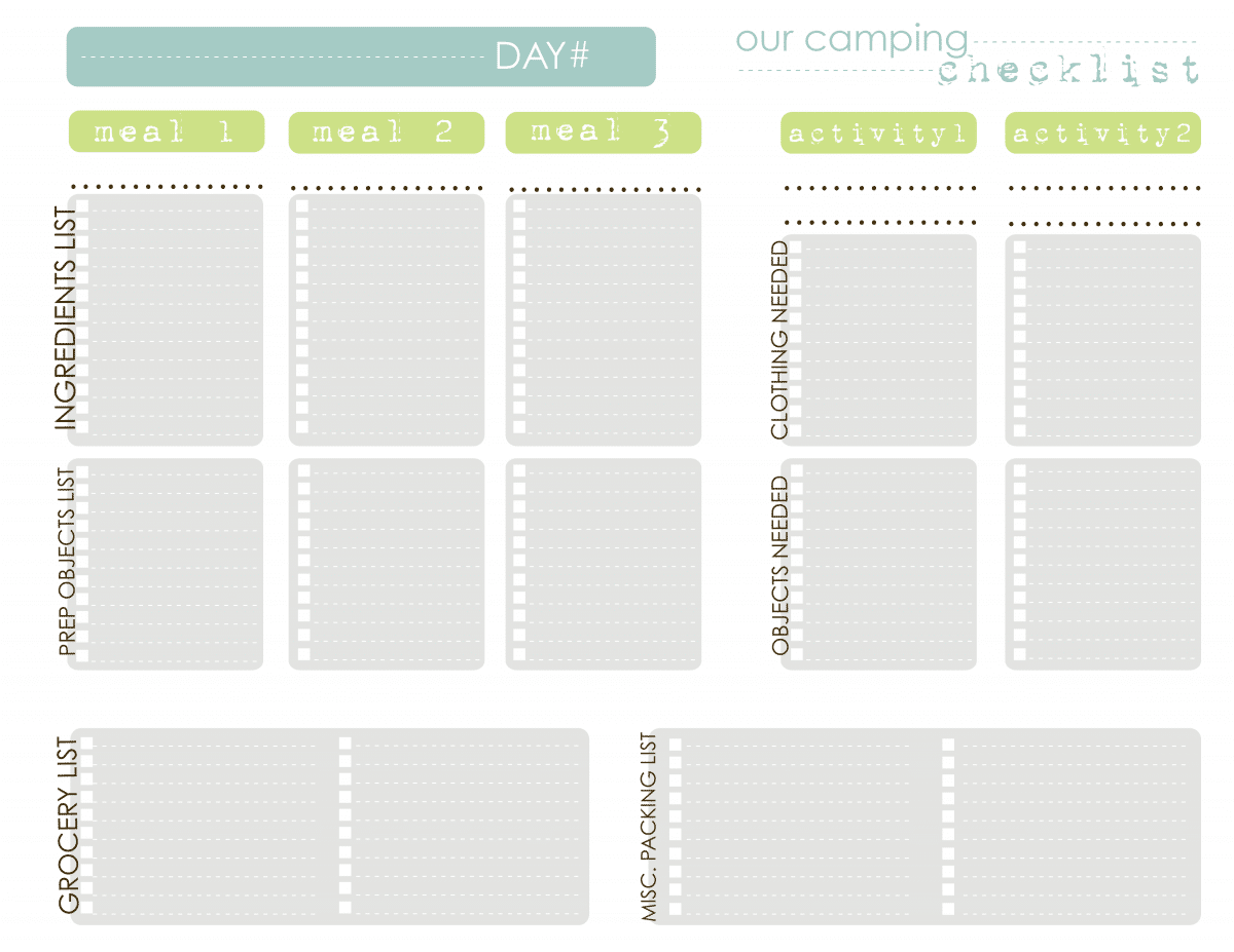 printable camping checklist template .