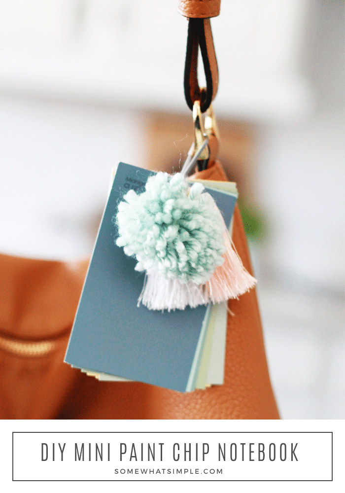 DIY Mini Paint Chip Notebook - We've got the most adorable simple project for you! These paint chip mini notebook pendants are the perfect idea if you're looking for something quick, inexpensive, easy, and most importantly, CUTE! via @somewhatsimple