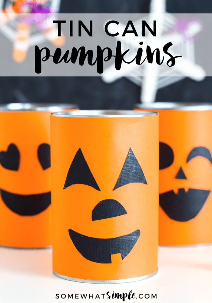 These cute tin can pumpkins are so fun to make! With traditional pumpkin faces and emoji-inspired, this craft is sure to be a hit with the kids! via @somewhatsimple