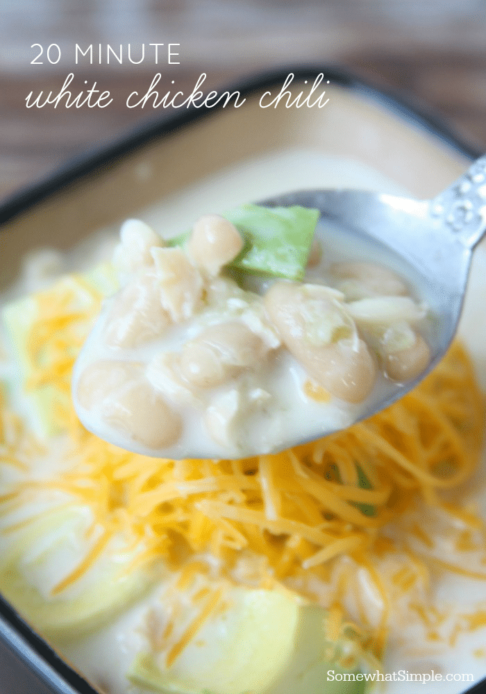 This white chicken chili recipe goes together in a snap, and it's so full of flavor that no one will guess it only took a few minutes to make. #whitechickenchili #chicken #dinner #soup #chili  via @somewhatsimple