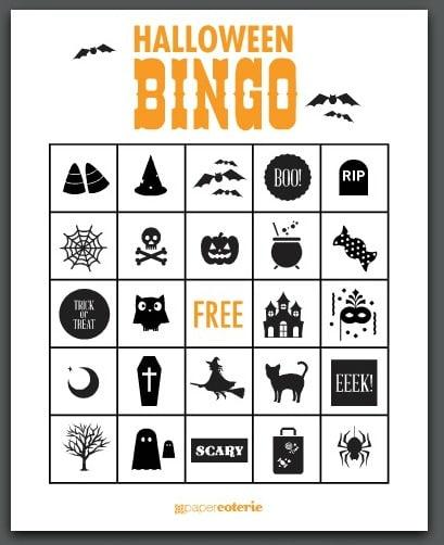 Satisfactory image inside free printable halloween bingo cards
