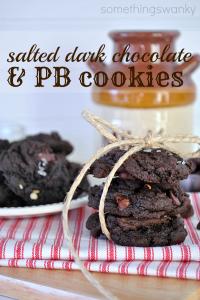 Salted Dark Chocolate & Peanut Butter Cookies #cookies #chocolate #recipe