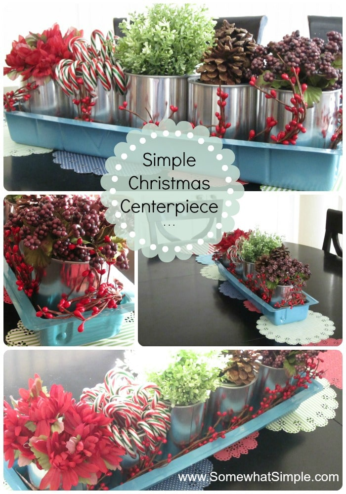 Christmas table centerpiece for Empty paint cans lowes