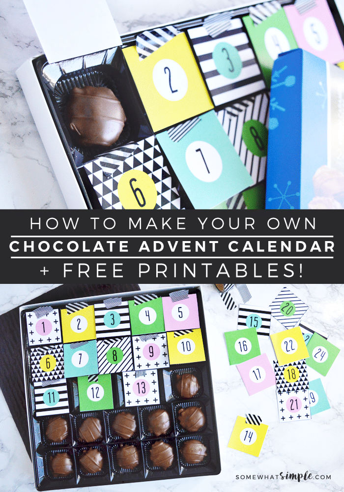 diy chocolate christmas advent calendar free printables