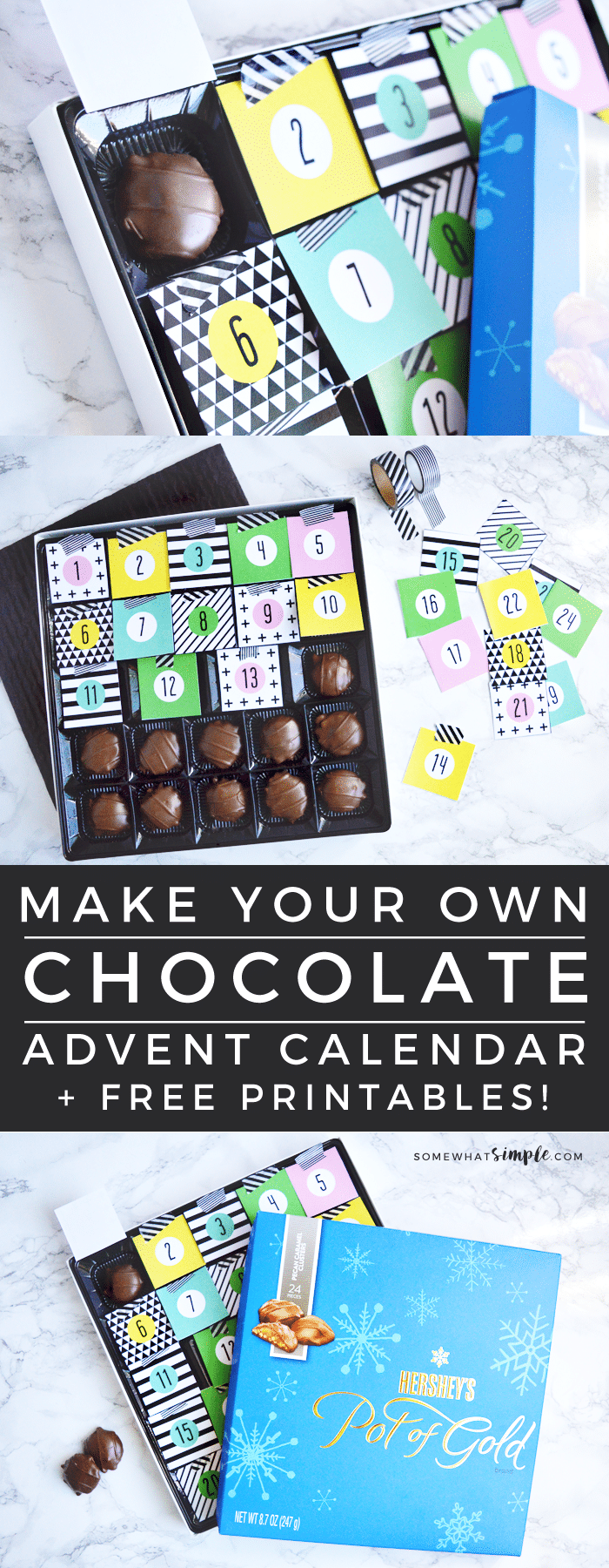 You won't believe how simple it is to turn an ordinary box of chocolates into a delicious countdown activity! Our Chocolate Christmas Advent Calendar is definitely a tradition you'll want to keep doing every year. #christmasadventcalendar #freeprintable #chocolatechirstmascalendar #christmascraft