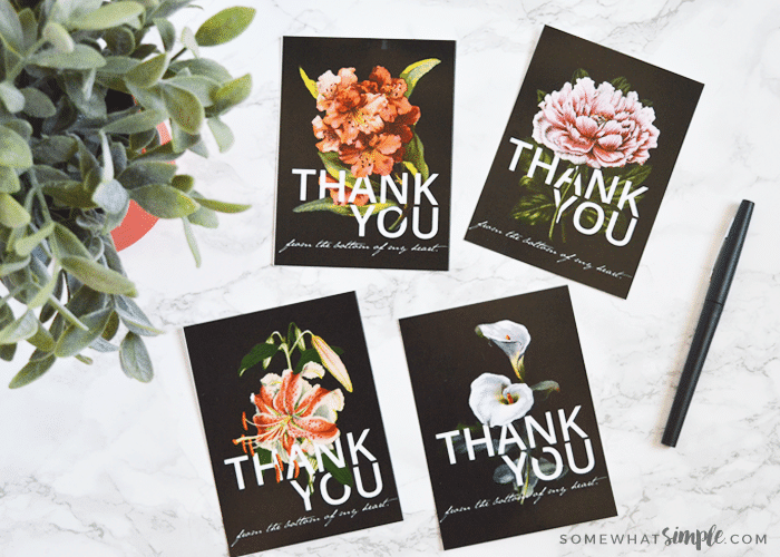 Thank You Cards: Free Printable Floral Postcards