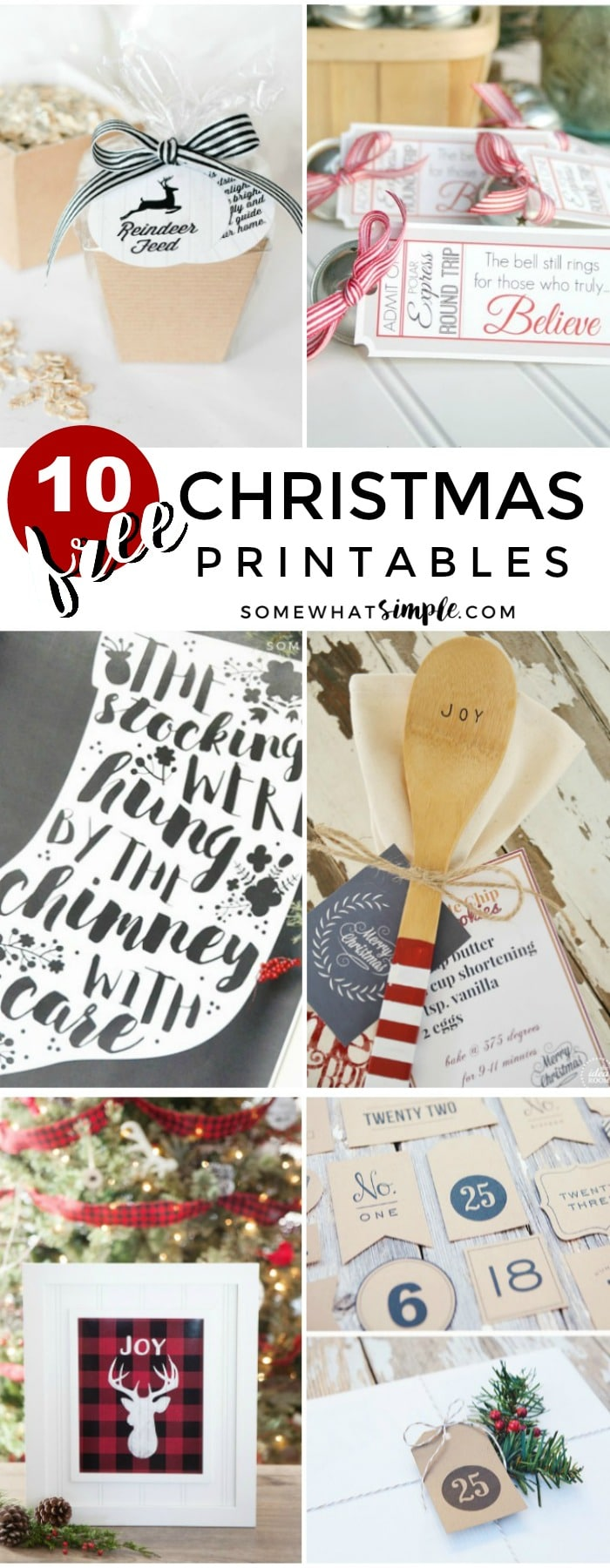 Keep your Christmas preparations simple and budget-friendly with 10 of our favorite FREE Christmas Printables! via @somewhatsimple