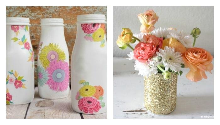 milk bottle and vase Mod Podge ideas