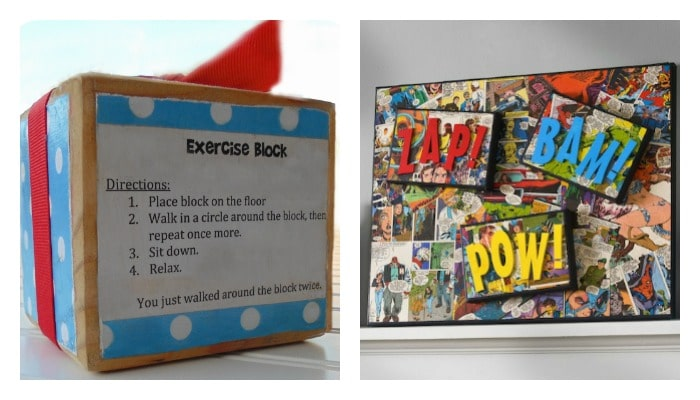 exercise wood block and comic book Mod Podge crafts
