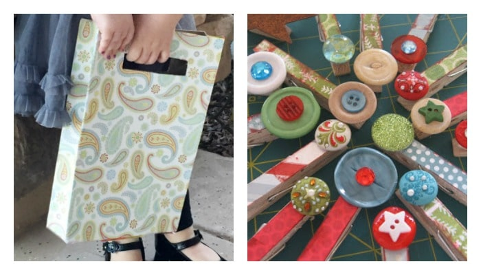 cereal box tote and clothespin Mod Podge crafts