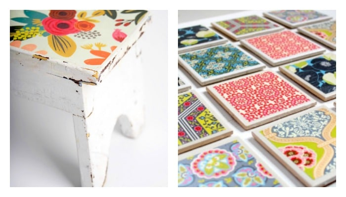 stool and beverage coaster Mod Podge craft projects