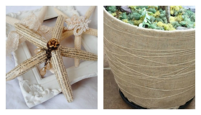 star fish and plastic bowl covered in twine Mod Podge craft projects