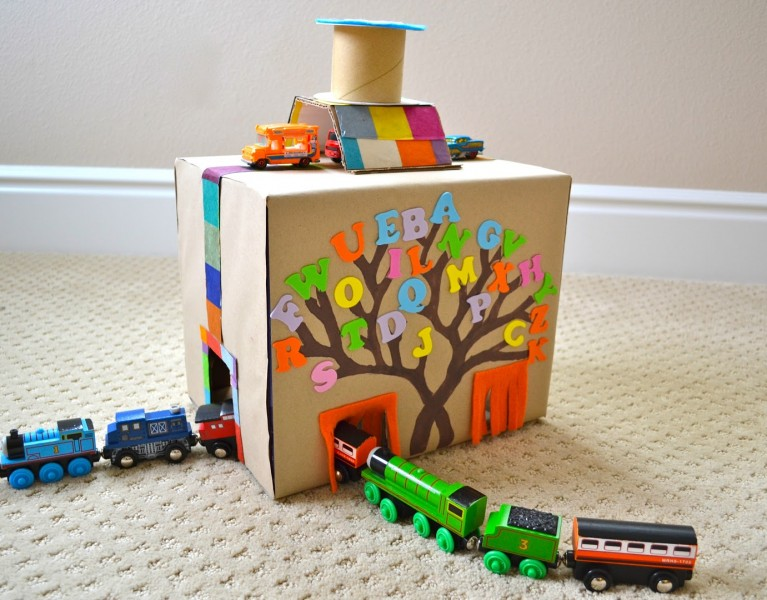 DIY Cardboard box toy tunnel