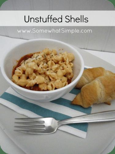 Recipe for Unstuffed Shells