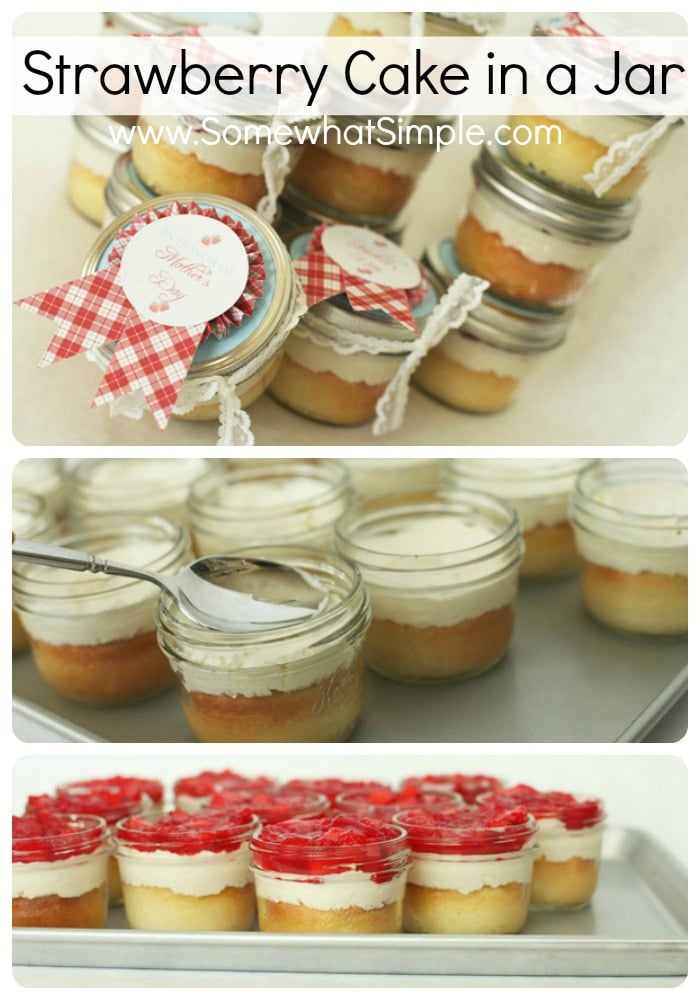 Fresh strawberries, delicious white cake, and a layer of cream cheese filling - all baked and prepared in individual portions.ThisStrawberry Cake in a Jar is bothtastyand beautiful! #cake #strawberrycake #easydessert #cakeinajar via @somewhatsimple