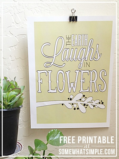 earth laughs in flowers yellow free printable