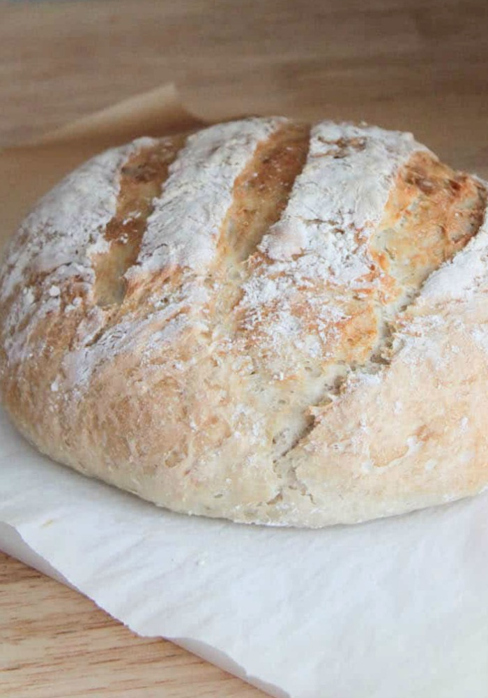 a fresh baked loaf of Artisan Bread using this quick and easy Recipe