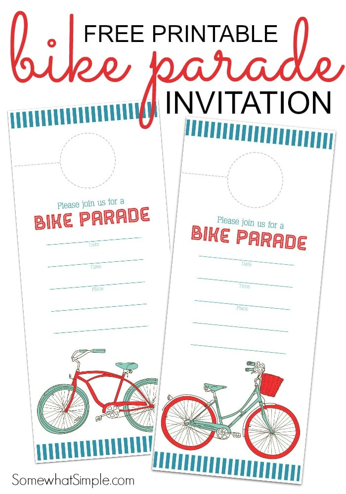 Free Printable Bike Parade Invitation