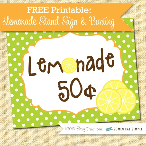 Lemonade Stand Sign Free Printable - 126.5KB
