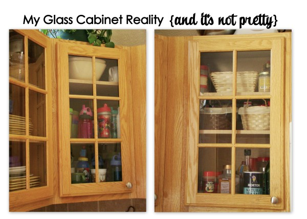 Faux Chalkboard Glass Front Cabinets Using Black Fabric 1