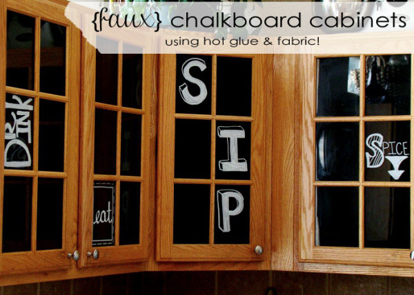 Faux Chalkboard Glass Front Cabinets Using Black Fabric Feature copy