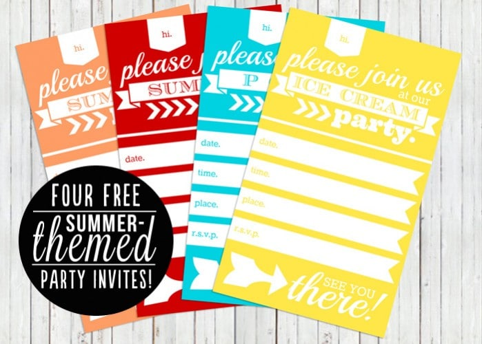 12 FREE summer printables + four different summer party themed invites