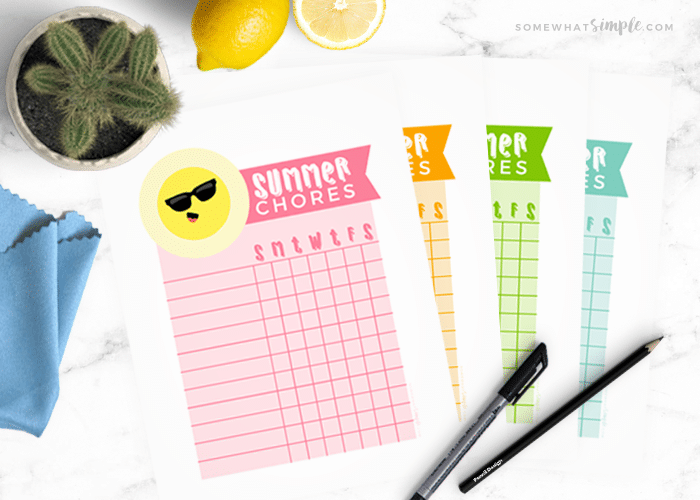 Printable Chore Charts – Summer Chores for Kids