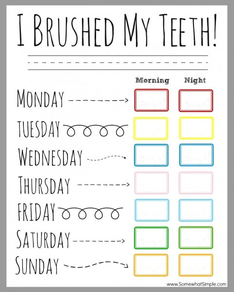 teeth brushing incentive chart