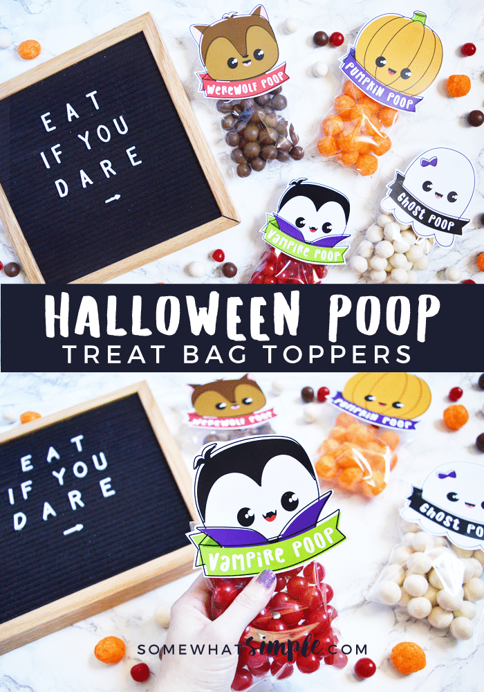 Here's a hilarious Halloween treat or snack idea that kids of all ages will absolutely love: Halloween Poop! Grab all four designs now! #PumpkinPoop #halloweentreatbags #halloweentreatbagideas #diyhalloweentreatbags  via @somewhatsimple
