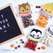 halloween treat bags with warewolf, vampire, ghost and pumpkin poop toppers