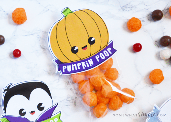 a treat bag with a pumpkin poop topper attached