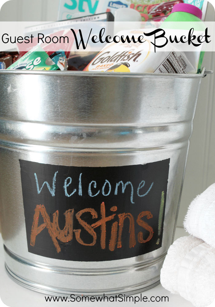 Make your out-of-town guests feel extra comfortable with this fun Welcome Basket filled with toiletries and treats! #WelcomeBasket #hosting #houseguests #guestroom #guestbathroom via @somewhatsimple