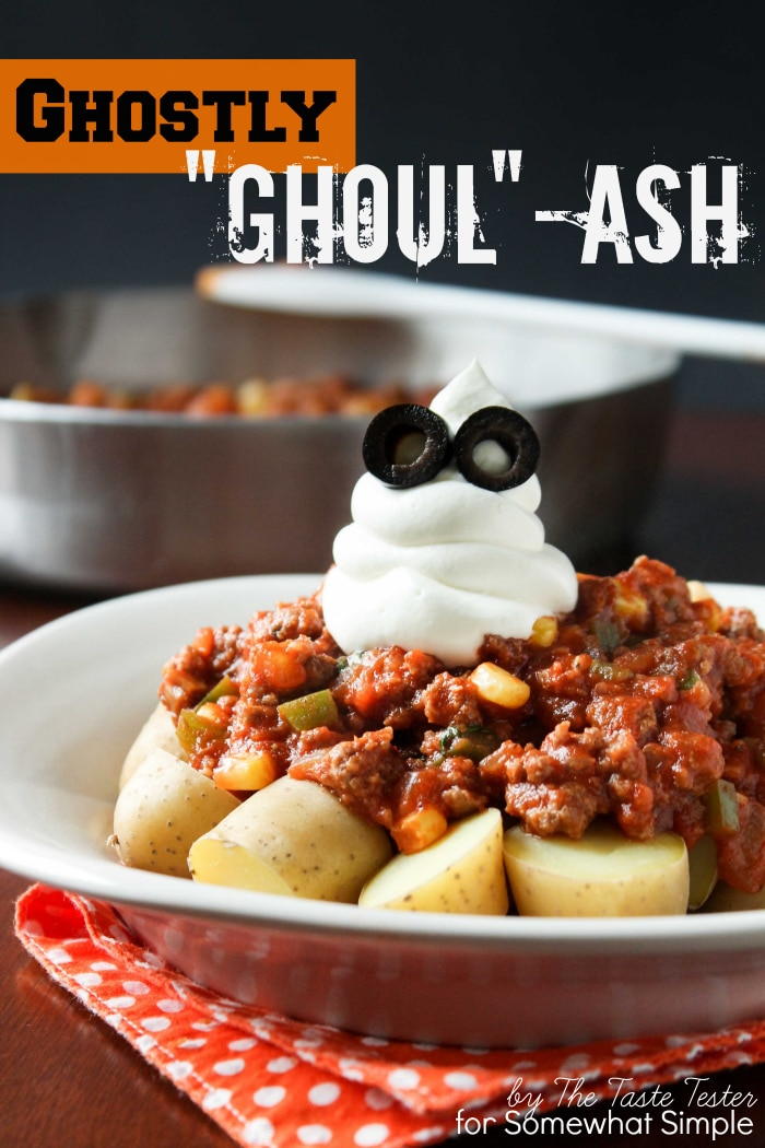 Are you looking for a fun Halloween dinner that your family will love? One of my favorite fall comfort foods with a Halloween twist - Ghostly Goul-ash. This easy goulash recipe whips up in 30 minutes or less! via @somewhatsimple