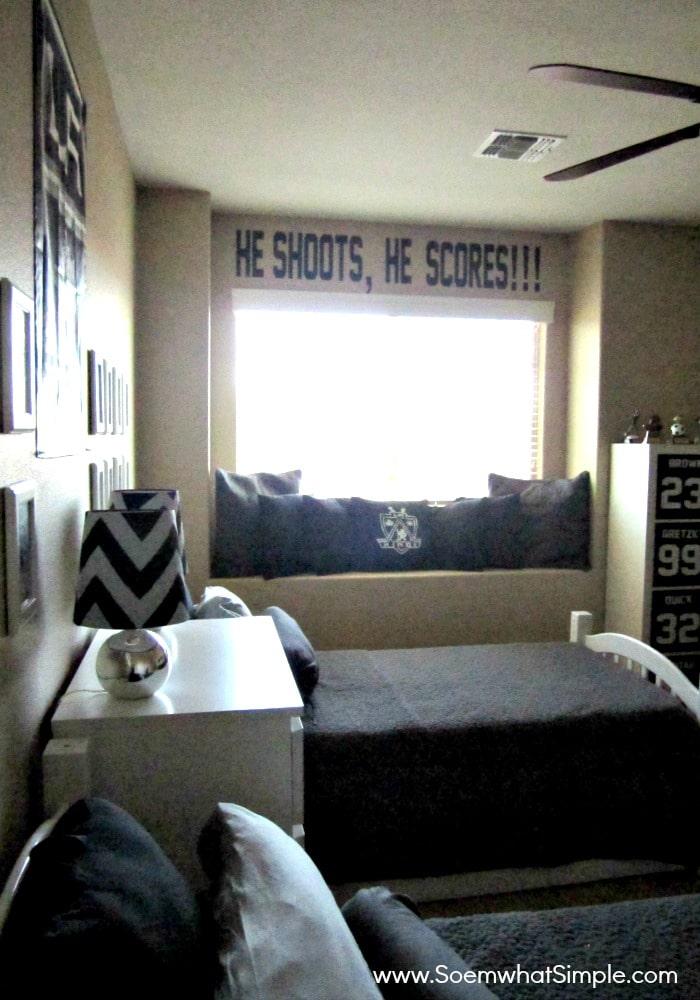 boys hockey room 2. He Shoots  He Scores  Boys Hockey Bedroom   Somewhat Simple