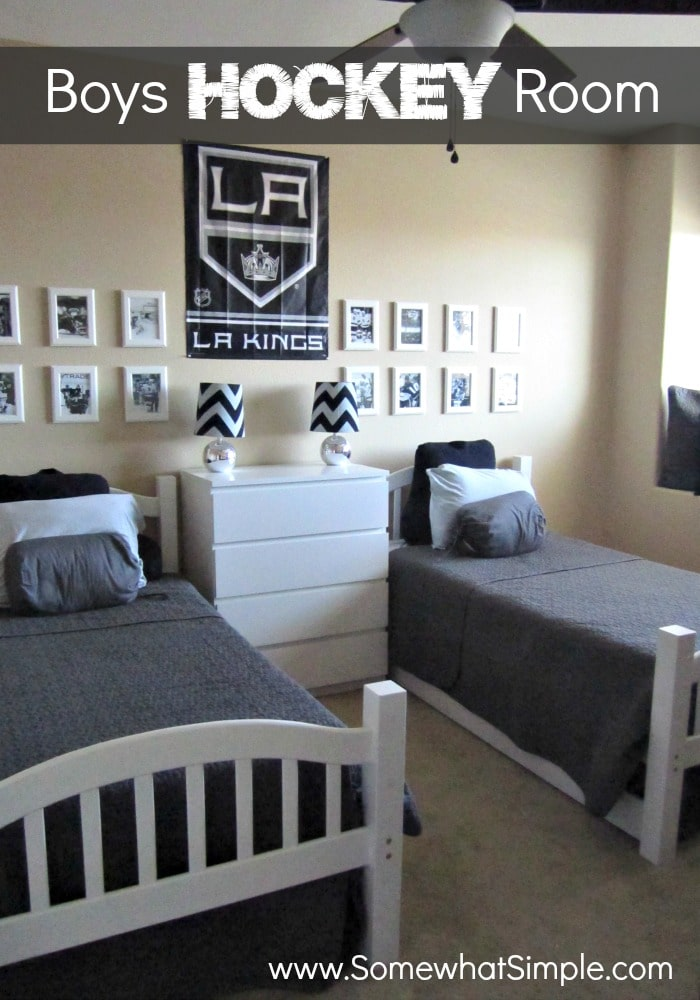 He Shoots He Scores Boys Hockey Bedroom Somewhat Simple Simple Bedrooms  Boys Real