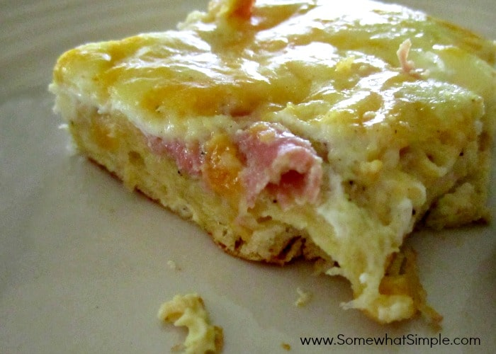 ... pour over ham top with cheeses bake for 25 min or until center is set