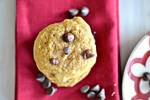 easy pumpkin chocolate chip cookies on a red napkin