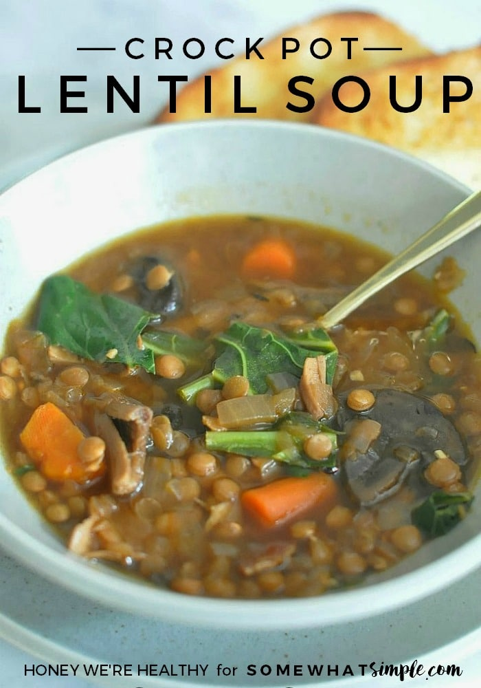 FOOD and DRINK - Simple Crock Pot Lentil Soup Recipe. Delicious, healthy, and filling!