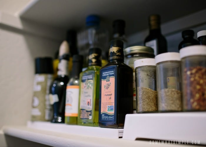 spice shelf in pantry