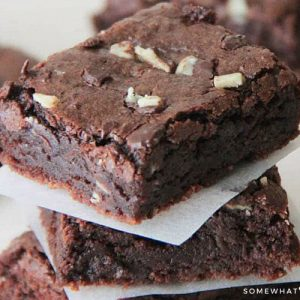 a stack of Creme de Menthe Brownies