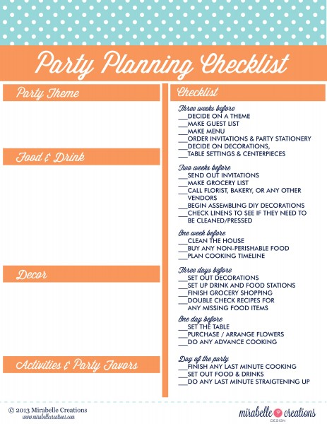 Party Checklist Mirabelle Creations
