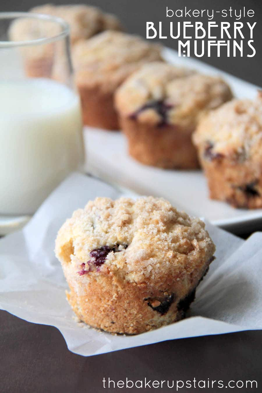 Blueberry muffins on a paper and tray