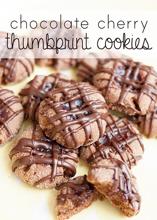 Chocolate Cherry Thumbprint Cookies - Somewhat Simple