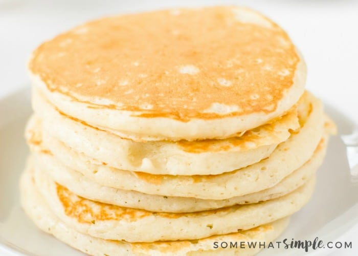 a stack of six fluffy pancakes made using this Simple Pancake Recipe