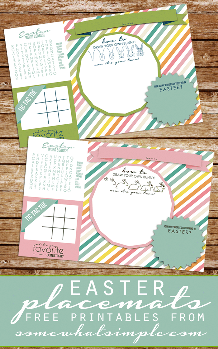 Easter Placemats More Free Easter Printables