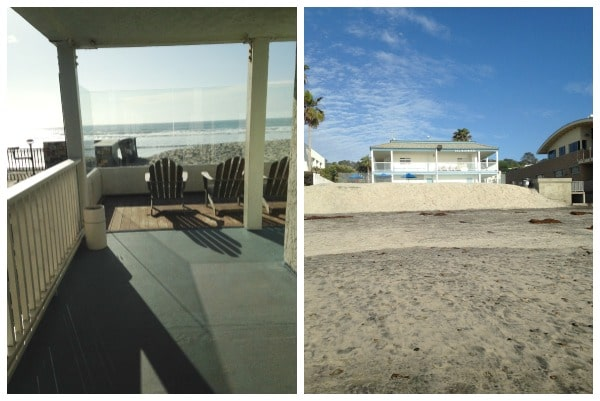 Left: Just outside our hotel room, steps from the sand. Right: View of The Del Mar Motel from the ocean.