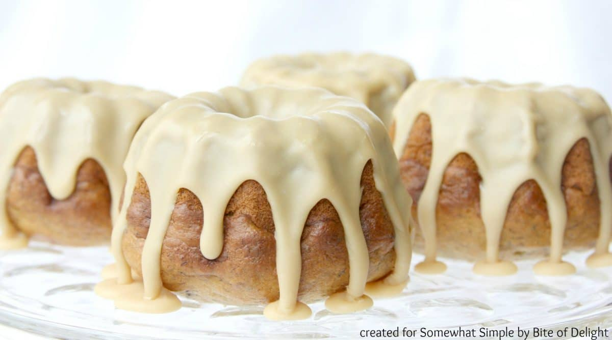 Banana Bundtlets with Maple & White Chocolate Icing - Somewhat Simple
