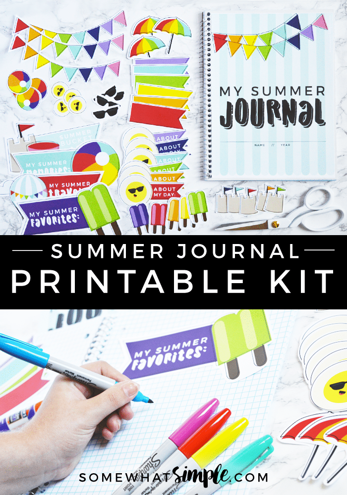Document life with creative journal prompts for kids and our darling summer journal kit! via @somewhatsimple