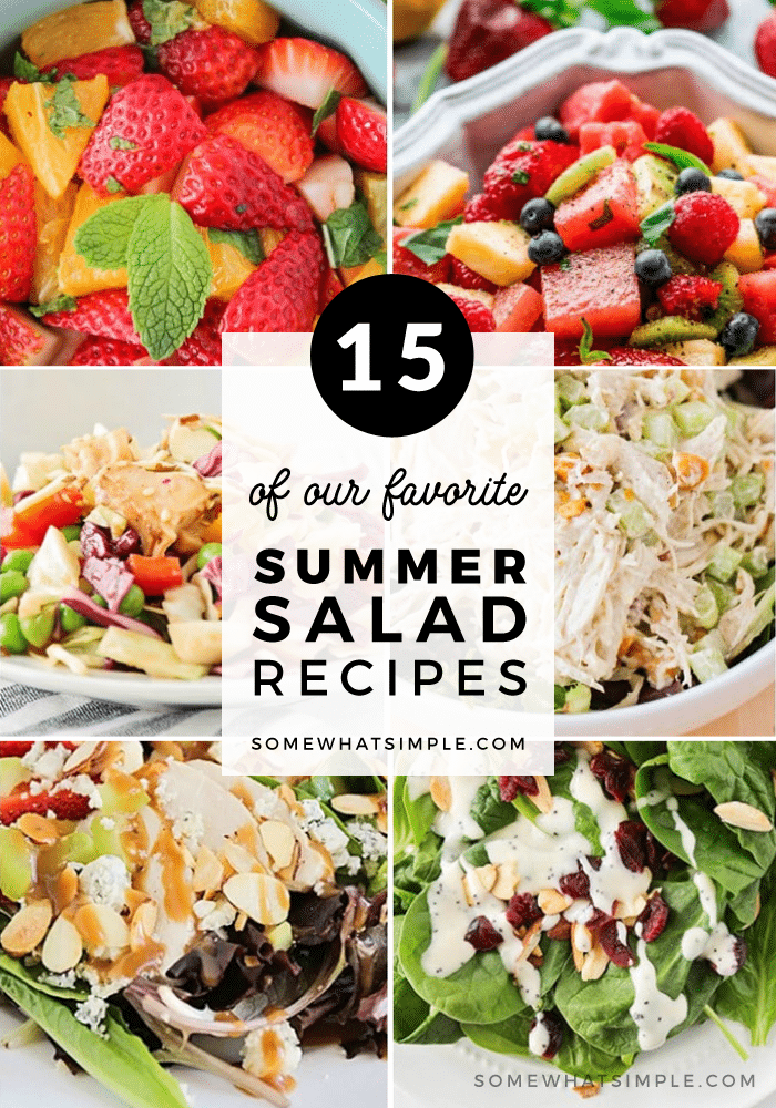 Here are 10 of our favorite delicious summer salads recipes.  These are a perfect addition to any meal when it's hot outside! #salad #recipe #summer #bbq #sidedish #partyfood #easyrecipe