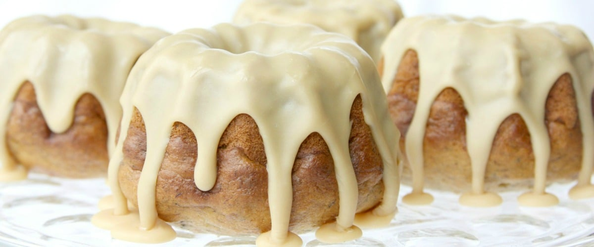 Banana Bundtlets With White Chocolate Icing Somewhat Simple